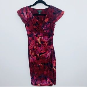 Ralph Lauren Red Floral BodyCon Dress 2P